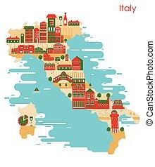 costruzione, mappa, italia, paese, famoso, monumento
