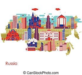 costruzione, mappa, paese, famoso, monumento, russia