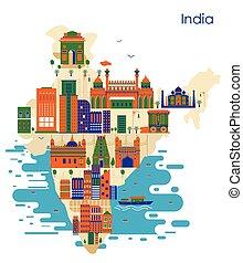 costruzione, mappa, paese, india, famoso, monumento