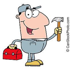 costruzione, martello, lavoratore