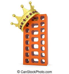 costruzione, mattone, corona