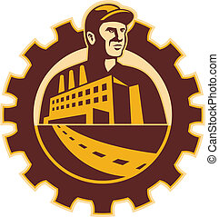 costruzione, meccanico, lavoratore, fabbrica, dente