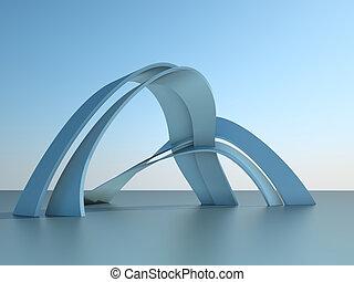 costruzione, moderno, cielo, illustrazione, archi, architettura, fondo, 3d