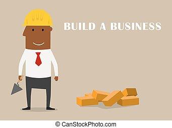 costruzione, nuovo, felice, affari, uomo affari