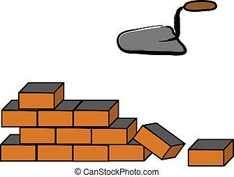 costruzione, parete, mattone