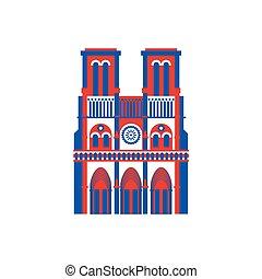 costruzione, parigi, notre, de, france., storico, icon., dama
