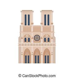 costruzione, parigi, notre, de, isolated., france., storico, dama