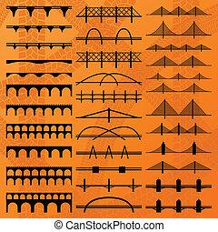 costruzione, ponte, silhouette, vettore, fondo