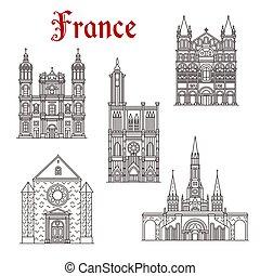 costruzione, punto di riferimento, francese, viaggiare, icona religiosa