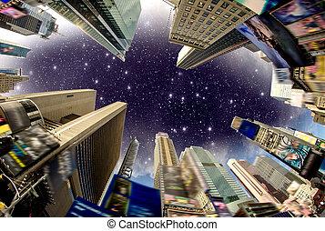 costruzione, quadrato, strada, annunci, stati uniti, cielo, -, volte, drammatico, rimosso, osservato