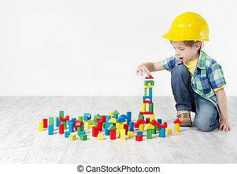 costruzione, ragazzo, concetto, city., duro, costruzione, sviluppo, blocks:, cappello, gioco