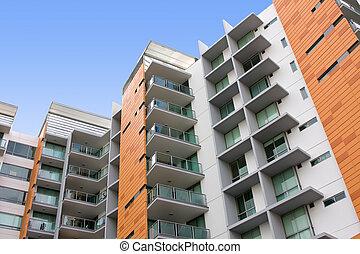 costruzione, residenziale, appartamento, moderno