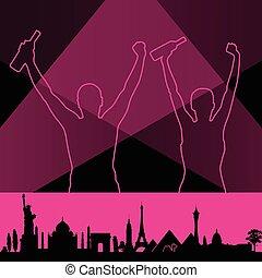 costruzione, rosa, coppia, illustrazione, vettore, monumento