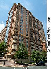 costruzione, rosslyn, moderno, appartamento, grattacielo, condominio, torre