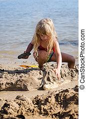 costruzione, sabbia, bambino