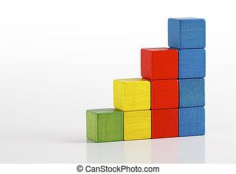 costruzione, scala, blocchi, scala legno, passo, mattoni, multicolor, fondo, giocattoli, bianco, sopra