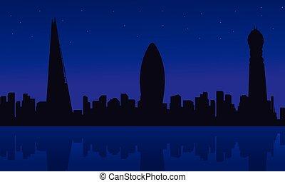 costruzione, scenario, silhouette, londra, città