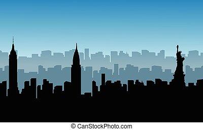 costruzione, scenario, silhouette, stati uniti