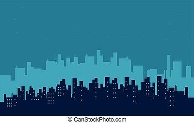 costruzione, scenario, silhouette