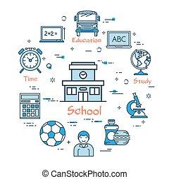 costruzione, scuola, concetto, educazione