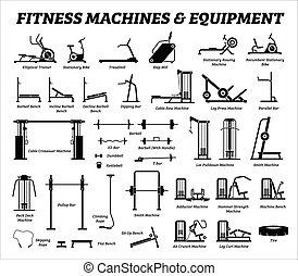 costruzione, set, cardio, equipments, macchine, gym., idoneità, muscolo