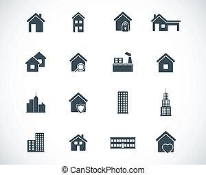 costruzione, set, nero, vettore, icone