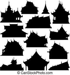 costruzione, silhouette, tempio