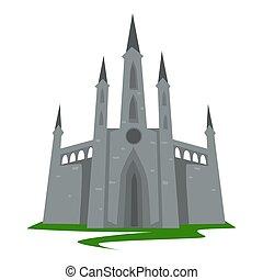 costruzione, stile, antico, torreggiare, architettura gotica, castello