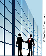 costruzione, stretta di mano, affari, finestra, relazione