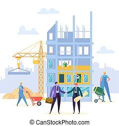 costruzione, stretta di mano, associazione, accordo, contratto, vettore, possedere, uomo affari, costruzione, design., ingegnere