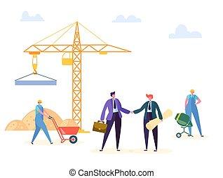 costruzione, stretta di mano, illustration., affari, associazione, accordo, contratto, direttore, vettore, possedere, costruzione, ingegnere