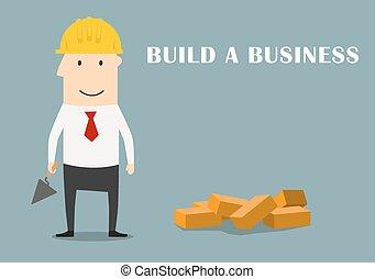 costruzione, uomo affari, affari, nuovo