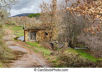 costruzione, vecchio, watermill