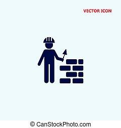 costruzione, vettore, lavoratore, icona