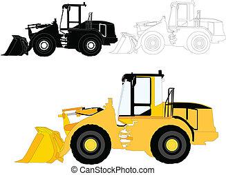 costruzione, vettore, -, macchine