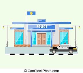 costruzione, vettore, polizia, isolato, object., stazione, automobile.