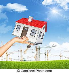 costruzione, womans, gru, casa, mano, chiave