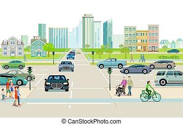 costruzioni appartamento, pedestrians-.eps, traffico città