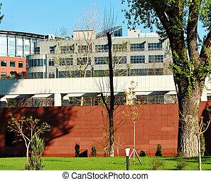 costruzioni, dietro recinto, rosso