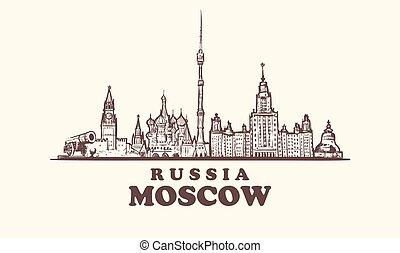 costruzioni, elementi, city., illustrazione, vendemmia, mosca, mano, vettore, disegnato, orizzonte, russia