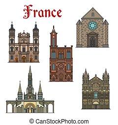 costruzioni, icone, limiti, francia, vettore, viaggiare