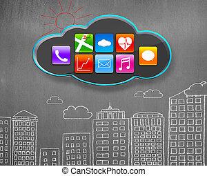 costruzioni, icone, parete, app, concreto, nero, doodles, nuvola