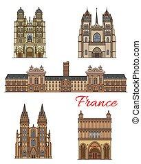 costruzioni, icone, viaggiare, francia, vettore, limiti