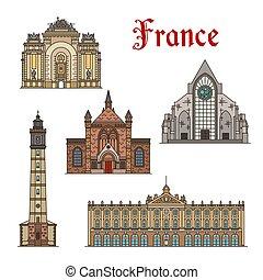 costruzioni, limiti, francia, vettore, facciata, viaggiare
