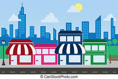 costruzioni, orizzonte, negozio, fronti