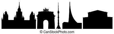 costruzioni, università, illustrazione, trionfale, teatro, russia, bolshoi, set., silhouette, torre, cancello, museo, vettore, ostankino, mosca, cosmonautics