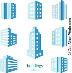 costruzioni, vettore, icone