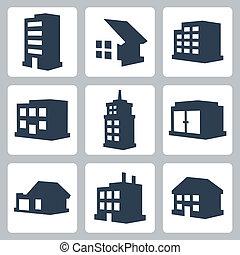 costruzioni, vettore, set, isolato, icone