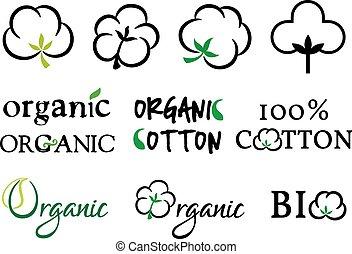 cotone, set, organico, vettore