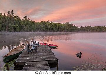 cottage, bacino, alba, lago, canadese